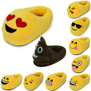 Nette-3D-Emoji-Emoticon-Unisex-Pluesch-Slippers-Hausschuhe-Innen-Schuhe-Schlappen