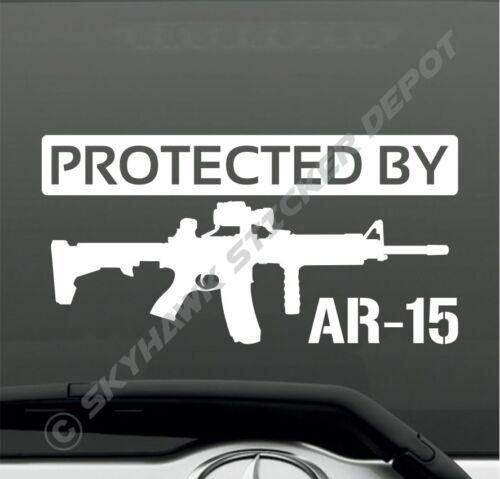 Protected By AR-15 Rifle Vinyl Bumper Sticker Decal Car Truck SUV Window Sticker