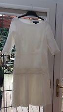 RALPH LAUREN Cream 3/4 Sleeve Pleated Dress CUSTOMISED Lace Size 10 BNWOT