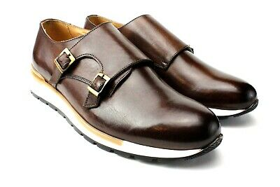 IVAN TROY Arthur Black MonkStrap Italian Leather Dress Shoes//Oxford Office Shoes