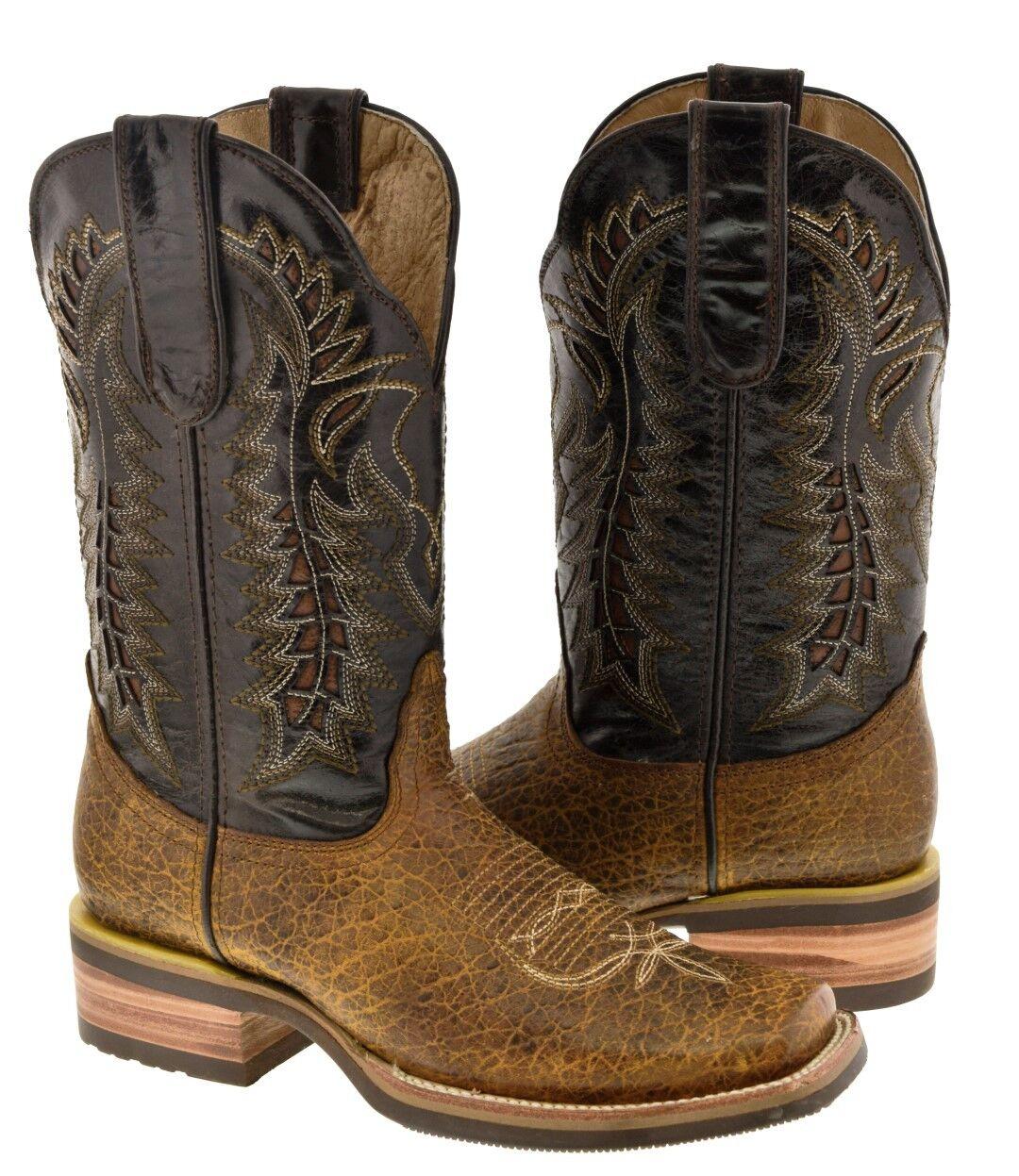 Para hombres Cuero Cosido superposición de Miel Diseño Oscuro botas De Vaquero Rodeo Occidental