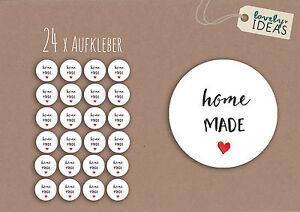 24-x-Geschenkaufkleber-034-Homemade-034-40mm-weiss-Etiketten-Aufkleber-Sticker