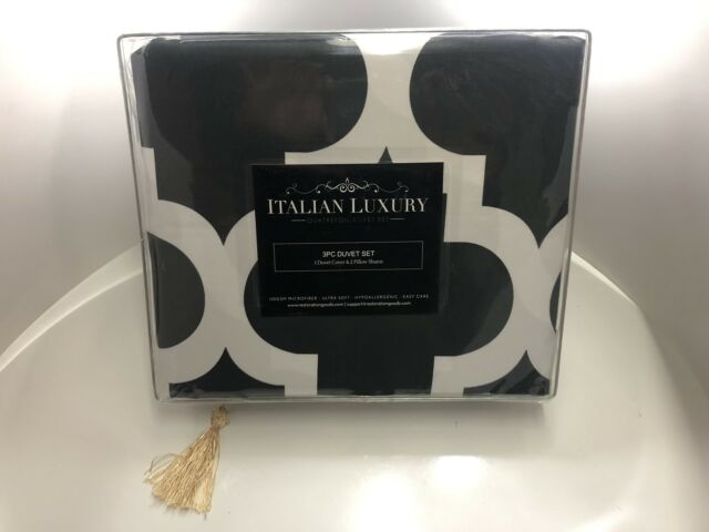 Bed Sheet Set Italian Luxury King Size Gray Quatrefoil Pattern Wrinkle Resistant