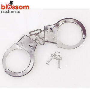 AC135-Silver-Light-Weight-Metal-Toy-Handcuffs-2-Keys-Hens-Night-Police-Prisoner