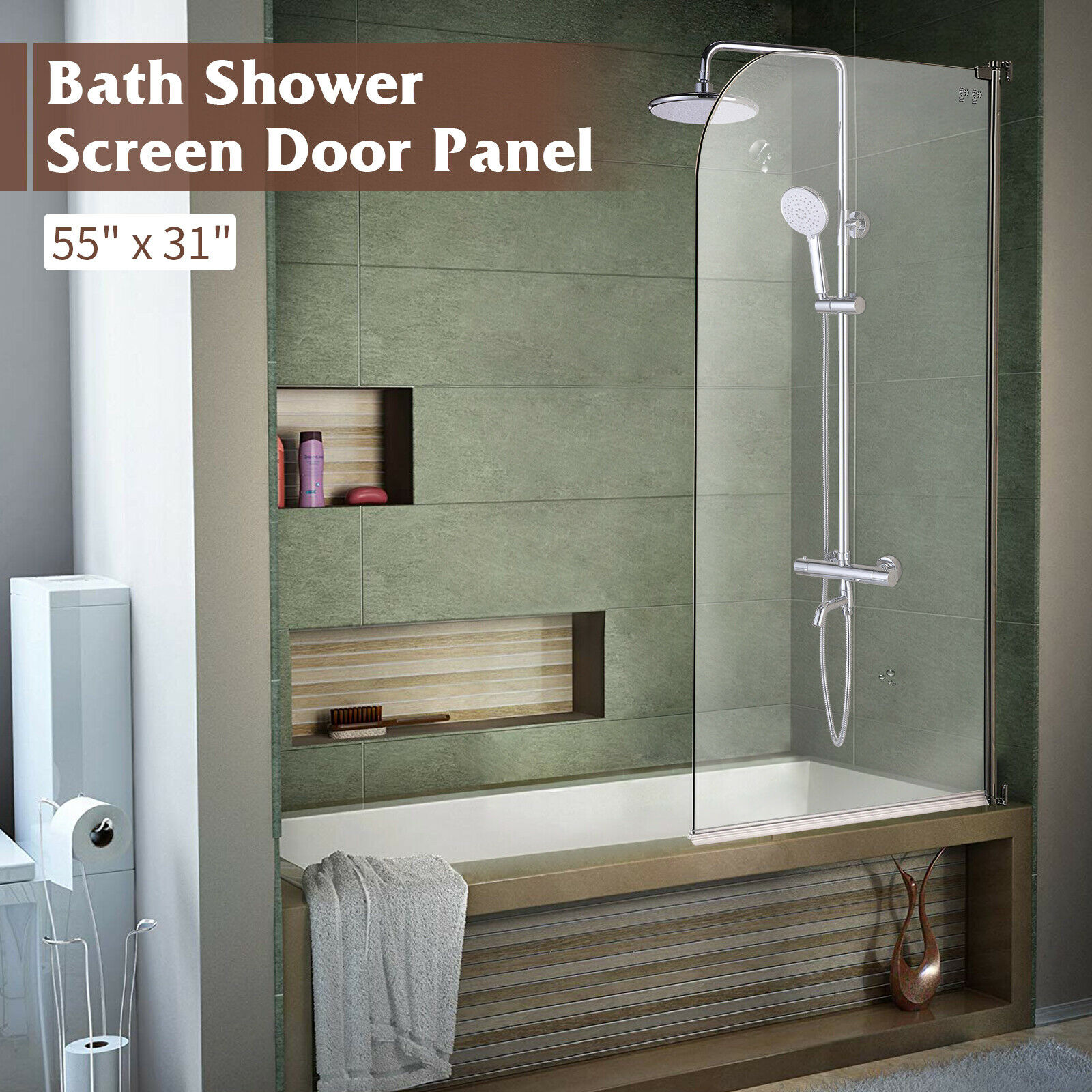 55 X31 Bathtub Shower Door 1 4 Clear Glass Hinged Pivot Radius Frameless