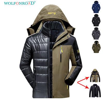 BIYLACLESEN Mens Winter Outdoor Coat Hooded Fleece Army Jacket Casual Waterproof Windproof Tactical Jacket