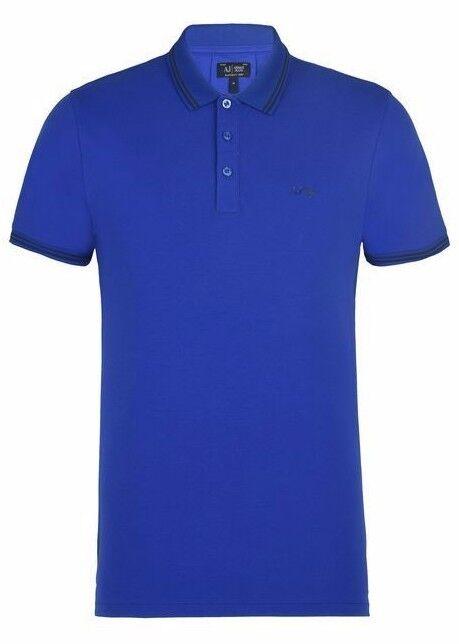 Armani Jeans Mens Royal bluee Pique Slim-Fit Polo Shirt All Sizes