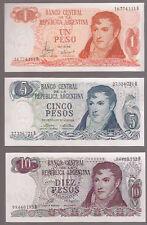 Argentina Pesos Ley 18.188  9 x Bank Notes Set Mint Condition Plastic Sleeve