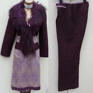 Karen-Millen-Vintage-Lilac-Jacquard-Skirt-Trousers-Suit-amp-Fur-Jacket-10-12-UK-38