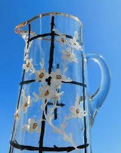 ATQ-19th-Century-Cylinder-Glass-Drinking-Pitcher-Enamel-Painted-White-Flowers