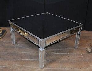Image Is Loading Art Deco Mirrored Coffee Table Glass Cocktail Tables