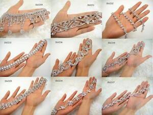 Crystal-Rhinestone-Applique-Diamante-Beaded-Trim-DIY-Wedding-Bridal-Dress-Belt