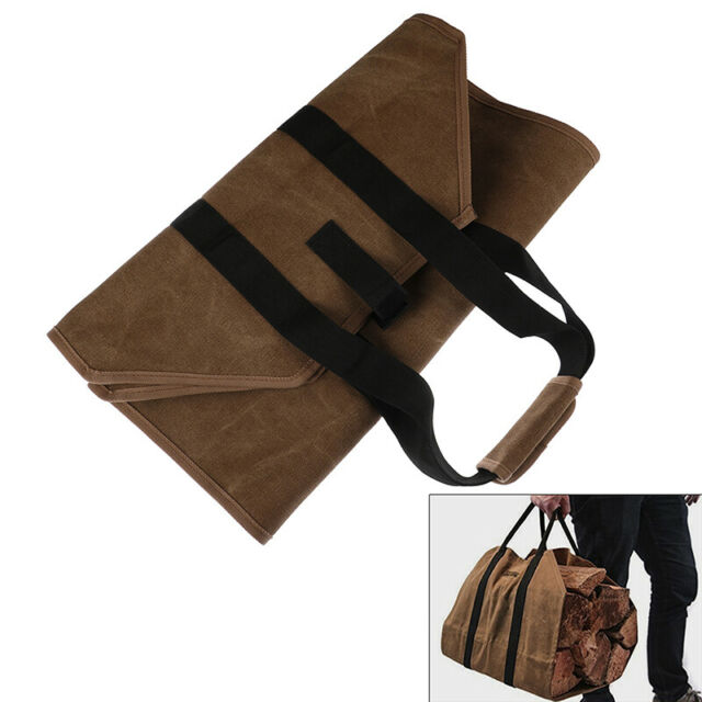 Forestwonder Firewood Carrier Log Wood Carrying Bag For Fireplace 16oz Waxed Can