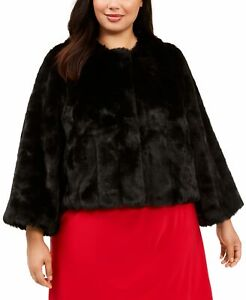 Calvin Klein Women's Jacket Jet Black Size 2X Plus Faux Fur Shrug $169 #111