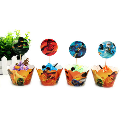 12x Toppers Children Party Cupcake Decoration 24Pcs Ninjago Theme 12x Wrappers
