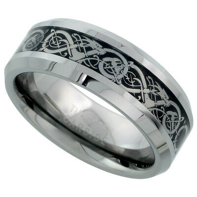 8mm Tungsten Flat Wedding Band Ring Inlaid Celtic Dragon Pattern, Beveled Edges