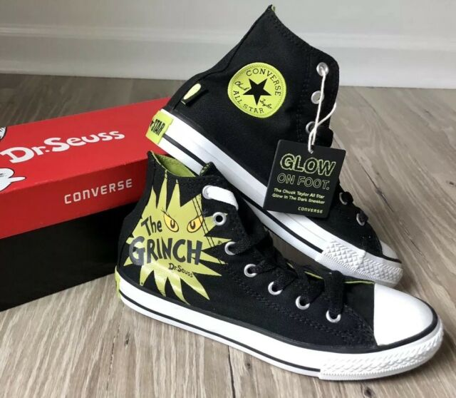 566b6e973a21 NEW Converse All Star Christmas Dr. Seuss  GRINCH  GLOW in Dark Hi Tops