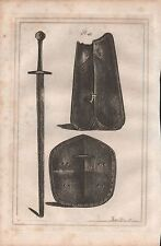 1801 ANTIQUE MILITARY PRINT - ARMOUR PLATE 48 ARMOUR AND SWORD , GUY OF WARWICK