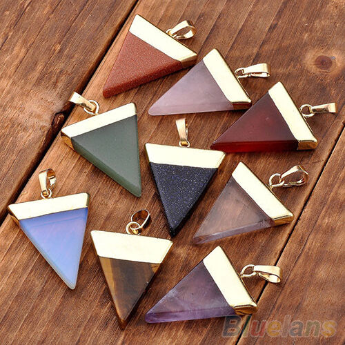Stylish Quartz Pyramid Healing Point Reiki Chakra Gemstone Pendants For Necklace