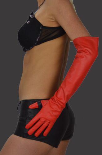Gr.L Damen Lange Handschuhe Rote,Lederhandschuhe Women Long Leather Gloves,Opera