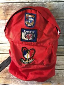 Skiing-Backpack-Orange-Vtg-Patches-Ski-Resort-beer-3-Patches-travel-distressed