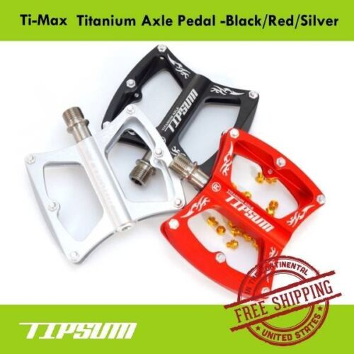 Tipsum Ti-Max Titanium Axle Pedal MTB Road Bicycle Black//Red//Silver Extra Pin