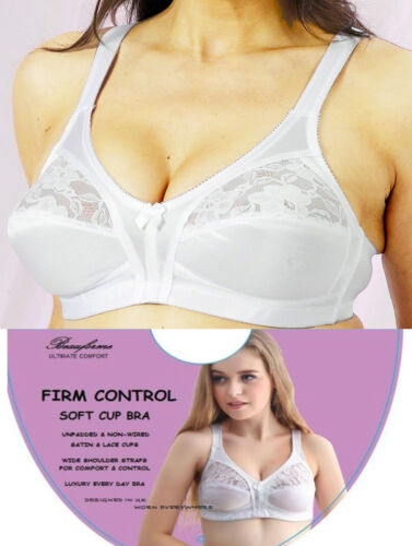 Women Firm Control Non Wired Soft Lace Cup Satin Bra Black /& White All Sizes