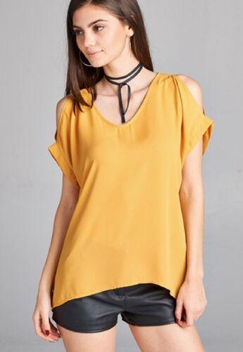 NEW Plus Size Open Shoulder Loose Fit Short Sleeve V-Neck Blouse L//XL//1X-2X-3X