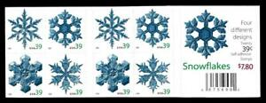 1¢ WONDER'S ~ UNFOLDED MINT STAMP BOOKLET W/ 39¢ SNOWFLAKES (FV = $7.80) ~ T374