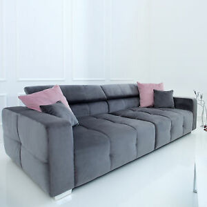 Big Sofa Heritage 290cm Grau Inkl Kissen Couch Microvelours