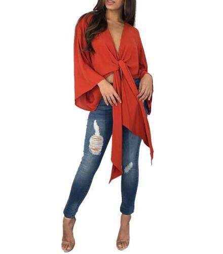 Women Batwing Sleeve Crop T-shirt Solid Color Bandage Chiffon Crop Top S-XL
