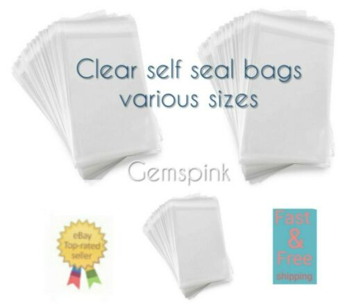 Clear Cello Bags Cellophane SELF SEAL Large Small For Sweet Cards A5 5x7  4x6...