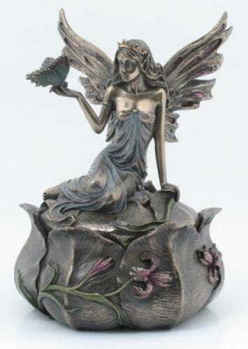 Frauenfigur Deckeldose Antik Elfe Mädchenfigur Pillendose Kästchen Schmuckdose