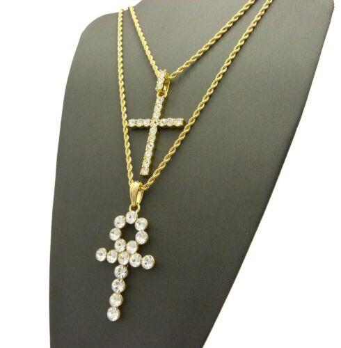 "Cross Pendant 18/"",20/"",24/"",30/"" Chain Hip Hop 2 Necklace Set Egyptian Pave Ankh"