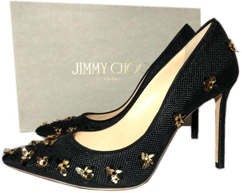 design unico Jimmy Choo Choo Choo Romy nero Pointy Toe Pumps oro 3D Flower Heels scarpe 37.5  edizione limitata a caldo