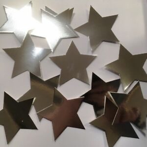 "50 x  LARGE SILVER  CARD METALIC SHINY CRAFT STARS 90mm (3.5"") FOR ARTS CRAFT"
