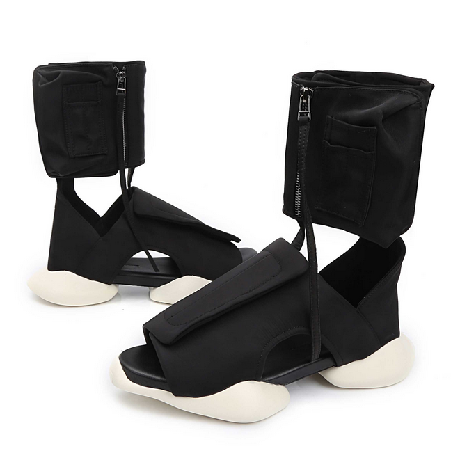 Uomo Roman High Top Open Toe Sandals Zipper Platform Pelle Sport Scarpe Stivali