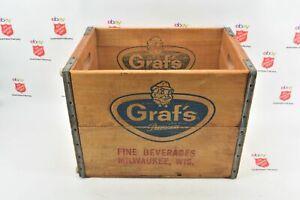 GRAF'S Premium Fine Beverages Wood & Metal Band Crate (1264)