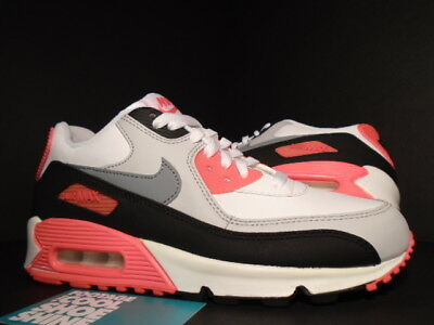 Nike Air Max 90 GS WHITE COOL CEMENT GREY INFRARED PINK BLACK 307793 137 6Y 6 | eBay