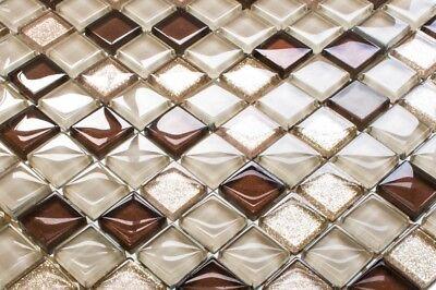LUXUS Glasmosaikfliesen 3D EFFEKT beige gold metallik glitzer glänzend 8mm