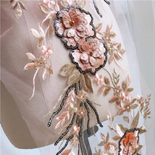 3D Perlen Blumenspitze Applikation Bestickt Blumenmuster Patch Hochzeits Kleid