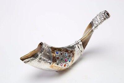 SILVER Plated SHOFAR Ram Horn HOSHEN Gem Stones Hebrew Bible 12 Tribes of Israel