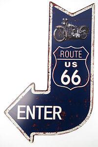 Letrero-De-Metal-Route-66-Signo-De-Garaje-Mania-Retro-Cumpleanos-Motociclista