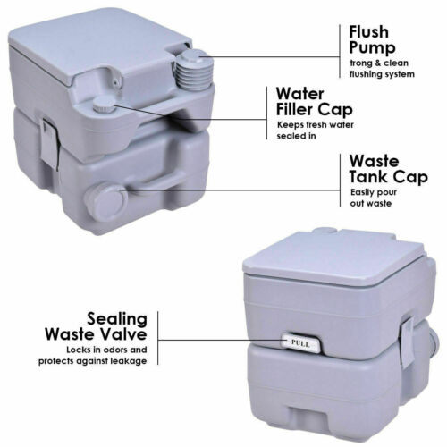 20L Camping Toilet Portable Travel Chemical WC Outdoor Handle Loo Potty Grey