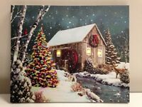 Cabin/waterwheel Picture On Canvas With Led Lights Wall Art Christmas Decor
