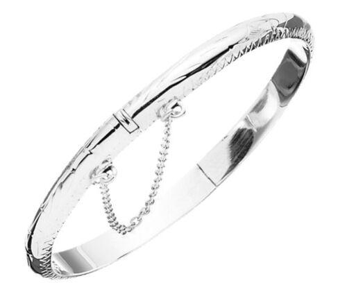 Sterling Silver Childrens Patterned Hinged Christening Bangle Bracelet