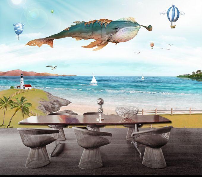 3D Fliegende Fische 877 Fototapeten Wandbild Fototapete BildTapete Familie DE