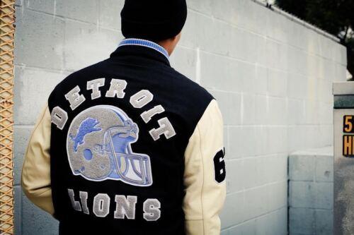 Beverly HILLS COP Axel Foley Detroit Lions de colección chaqueta de motorista Deportes Letterman