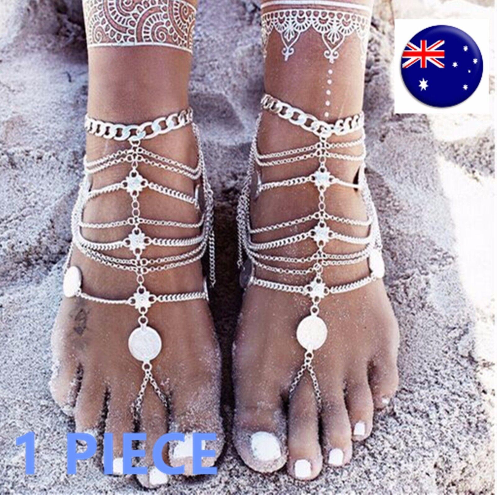 1 Women Lady Beach Party Boho Wedding Sandal Retro Coin Foot Anklet Chain tassel