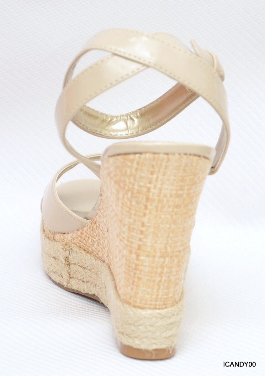 Nib Guess TRISSA TRISSA TRISSA Espadrille Wedge Sandal Platform shoes Natural Beige 8.5 ed5572